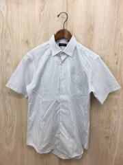 ボタンダウンシャツ/L/コットン/WHT/ストライプ/