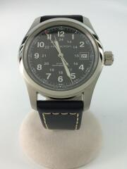 KAHKI FIELD/自動巻腕時計/アナログ/レザー/BLK/BLK/H704450