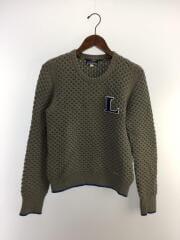 ワッペン付セーター(薄手)/38/コットン/GRY