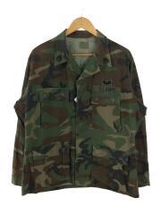 90s/EDCAR製/ミリタリーシャツ/M/コットン/KHK/カモフラ