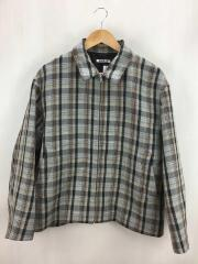 19AW/DOUBLE FACE CHECK ZIP BLOUSON/4/ウール/BRW/チェック/A9AB02BN