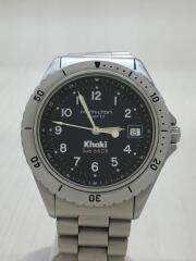 Khaki Sub 660ft/クォーツ腕時計/アナログ/ステンレス/BLK/SLV