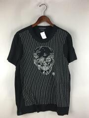 スカル刺繍Tシャツ/XL/コットン/BLK