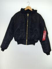 bomber jacket/ma-1/ジャケット/XS/ナイロン/BLK