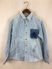ポケット切替シャツ/L/コットン/BLU/ストライプ