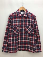 オープンカラーシャツシャツ/M/コットン/NVY/チェック