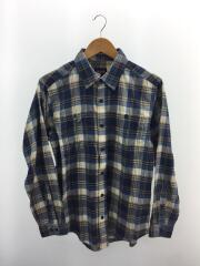 長袖シャツ/XS/コットン/BLU/チェック/青/ブルー/新品/タグ付き