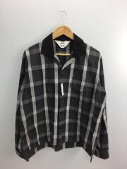 長袖シャツ/3/コットン/BLK/チェック/オープンカラージゴロチェックシャツ