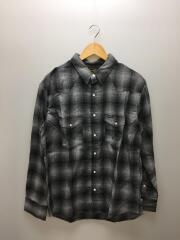 長袖シャツ/XL/ポリエステル/BLK/チェック/ウエスタンシャツ/WS9231