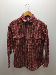 ネルシャツ/M/ウール/RED/チェック/フランネルシャツ