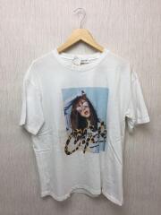 プリントクルーネックオーバーサイズシャツ/--/コットン/WHT/無地