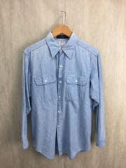 シャンブレーシャツ/長袖シャツ/1/コットン/BLU/MB167-5008