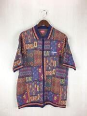 ポロシャツ/L/コットン/マルチカラー/総柄/20ss/Patchwork Knit Zip Up Polo