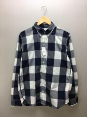 ボタンダウンチェックシャツ/L/コットン/ネイビーxホワイト/NT21036H