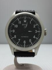 自動巻腕時計/デジタル/レザー/BLK/BLK