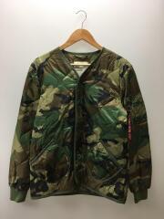キルティングジャケット/XS/ナイロン/カーキ/カモフラ
