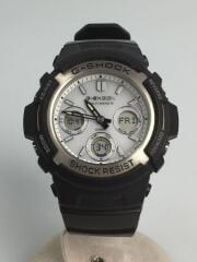 AWG-M100S-7AJF/ソーラー腕時計・G-SHOCK/デジアナ/BLK/ジーショック/Gショック