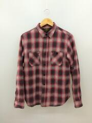 長袖シャツ/ネルシャツ/内側キルティング/M/コットン/RED/オンブレチェック
