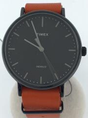 INDIGLO/クォーツ腕時計/アナログ/レザー/BLK/ORN/TW2P97800/インディグロ