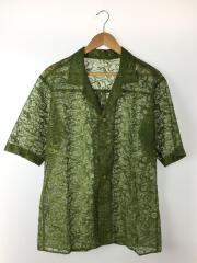 19SS/レースシャツ/オープンカラー半袖シャツ/M/ポリエステル/グリーン/総柄/SJ-B10-800