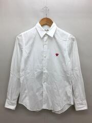 ロゴ刺繍シャツ/長袖シャツ/M/コットン/WHT/AZ-B011