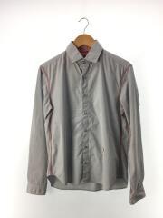 ナリフリ/長袖シャツ/M/コットン/BLU/チェック/NF190/襟汚れ有り