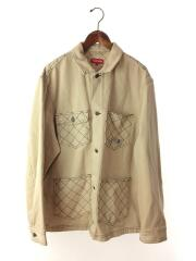 18aw/diamond stitch denim chore coat/カバーオール/L/コットン/ベージュ