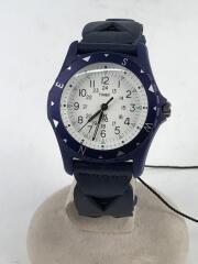 ×TIMEX/TW2R11300/腕時計/アナログ/レザー/WHT/NVY