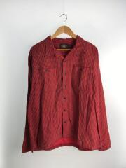 開襟シャツ/長袖シャツ/XL/コットン/RED/総柄