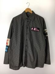 20ss Oversized shirt with patches black/長袖シャツ/44/コットン/BLK