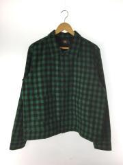 シャツジャケット/長袖シャツ/XL/ウール/GRN/チェック