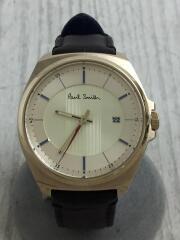 ポールスミス/クォーツ腕時計/アナログ/レザー/GLD/BRW/クローズドアイズ