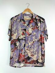 ONE HUNDRED TIGERS/百虎/KALAKAUA/アロハシャツ/S/レーヨン/BLK/SS38201