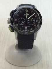 クロノラリー1 クロノグラフクォーツ腕時計/アナログ/ラバー/ブラック/10305-3NV-NV