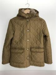 キルティングジャケット/38/ポリエステル/ベージュ/右袖に黒い汚れ有り