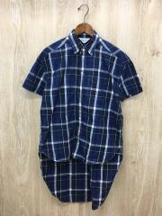 半袖シャツ/XL/コットン/ブルー/チェック