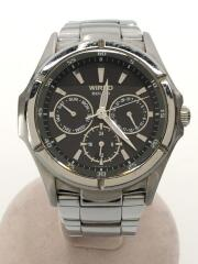 クォーツ腕時計 アナログ ステンレス ブラック シルバー V14J-0AS0 コマ無し