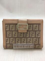 フェンディ 2つ折り財布 キャンバス ベージュ 総柄 AT74966