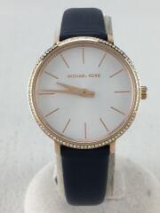 腕時計 アナログ レザー ホワイト ネイビー MK-2804