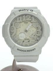 クォーツ腕時計/アナログ/ラバー/ホワイト/BGA-131