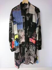 パッチワーク丸衿ロングシャツ/長袖シャツ/1/--/マルチカラー/総柄/HW-B54-232