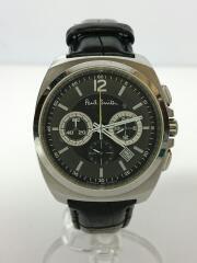 クォーツ腕時計/アナログ/レザー/BLK/SLV/0520-T011519 TA