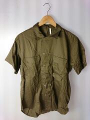 オープンカラーシャツ/ダブルボタン/半袖シャツ/M/コットン/BRW/無地/m-sh904