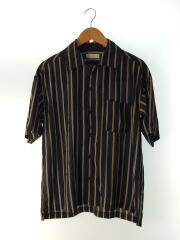 ストライプデシンオープンカラーシャツ/半袖シャツ/S/ポリエステル/BLK/L18SS-126