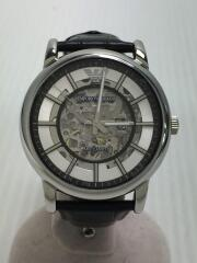 エンポリオアルマーニ/自動巻腕時計/アナログ/レザー/シルバー/ブラック