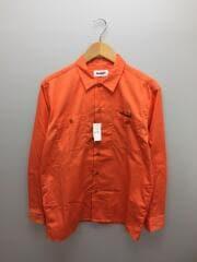 ダブルポケットワークシャツ/刺繍長袖シャツ/M/ポリエステル/ORN