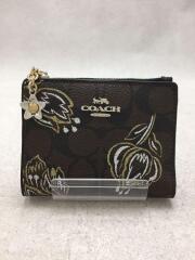2つ折り財布/レザー/BRW/総柄/レディース