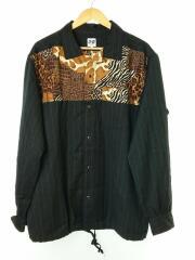 エーアイイー/ジャケット/L/ウール/ブラック/レオパード/シャツジャケット