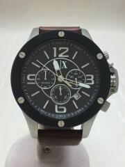 アルマーニエクスチェンジ/クォーツ腕時計/アナログ/レザー/ブラック/ブラウン/AX1509