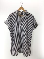 半袖シャツ/--/ポリエステル/NVY/ストライプ/サイドスリット/19-050-400-9120-1-0